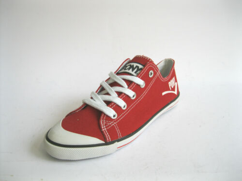 Pony 121Y08 Ladies Red Lace Up Canvas Trainer//Pumps R34A Kett