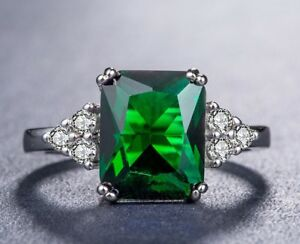 Stunning-Emerald-and-White-Topaz-Cocktail-Silver-Plated-Ring-Size-R