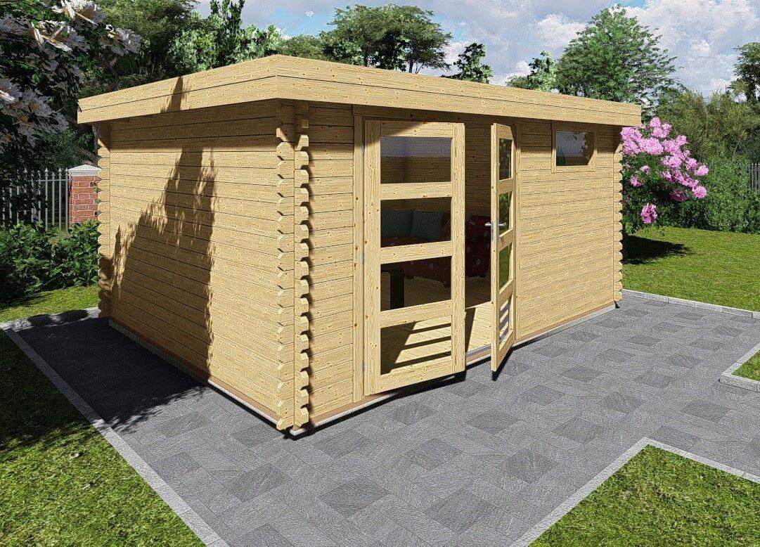flachdach gartenhaus ger tehaus aus holz 40mm blockhaus holz leo 40201of ebay. Black Bedroom Furniture Sets. Home Design Ideas
