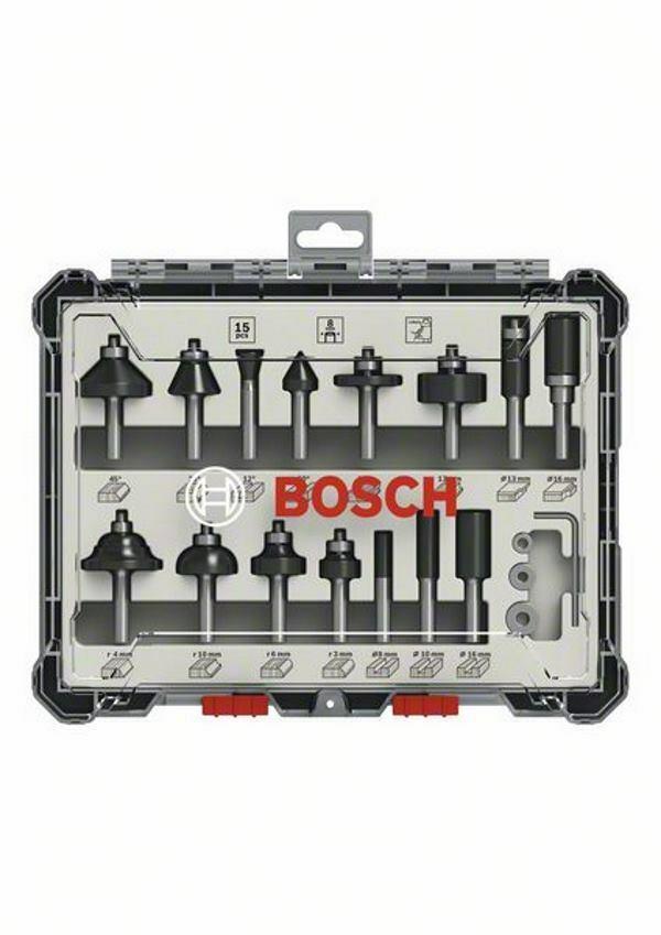 Bosch 15-teiliges Fräser-Set Fräser - 8mm Schaft - in Kassette