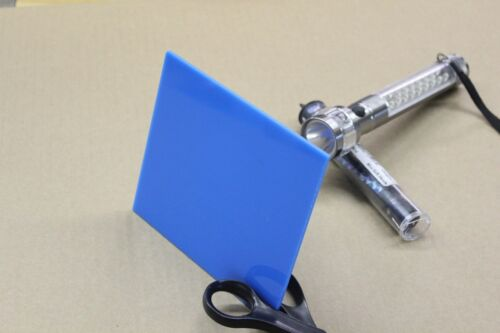 "BLUE ACRYLIC PLEXIGLASS LIGHT DIFFUSING PLASTIC SHEET .100/""  X 5/"" X 12/"""