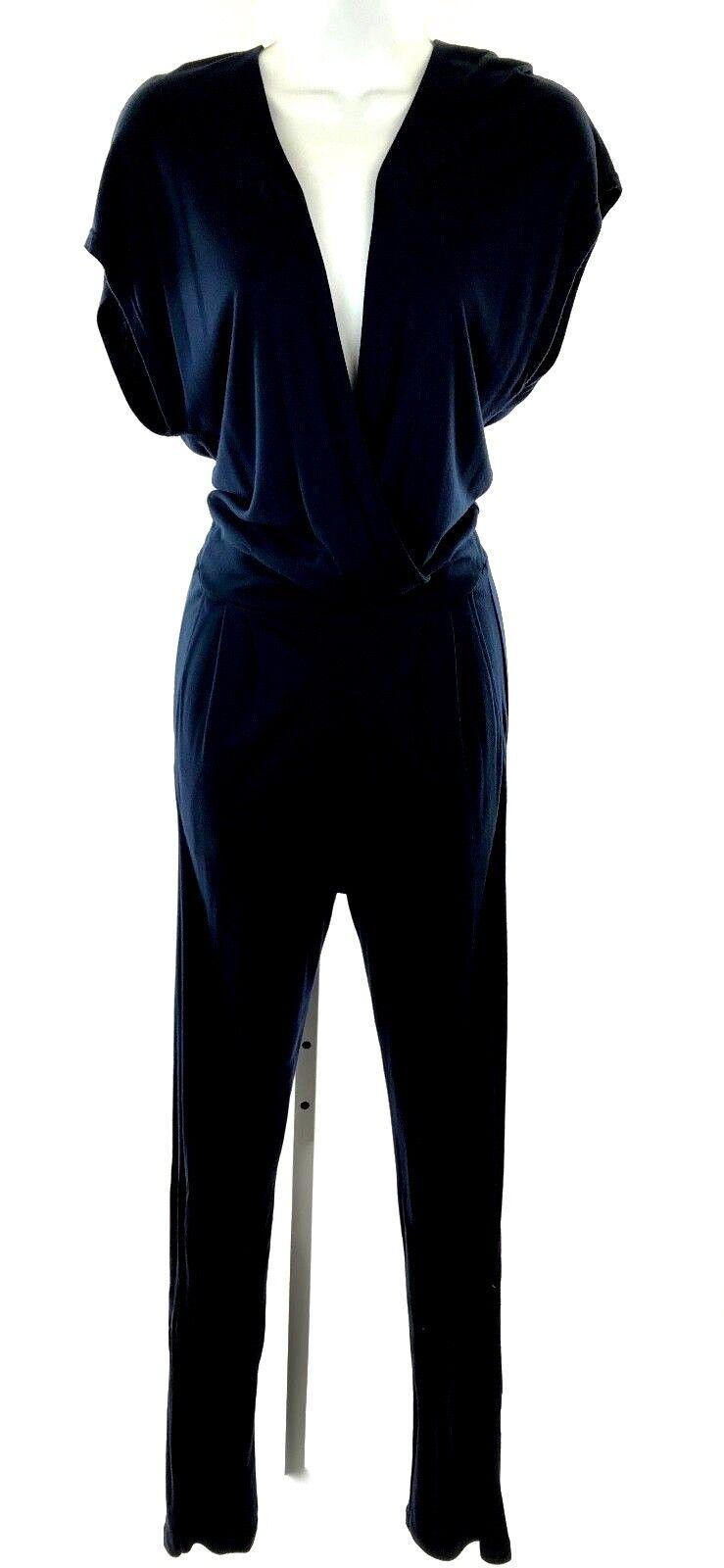 Three Dots Kimono Wrap Jumpsuit Navy bluee New Size S Credver Deep V Short Sl