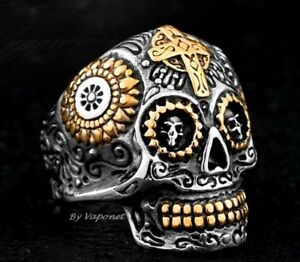 Mens Gothic Skull Cross Ring Silver Gold Stainless Steel Biker