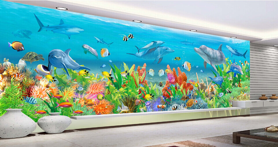 3D Ocean Sharks Weed 6 Paper Wall Print Decal Wall Wall Murals AJ WALLPAPER GB