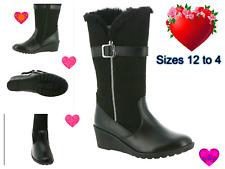 New Rachel Windham Youth Girls Black Fashion Riding Side Zipper Tall Boots 12-4