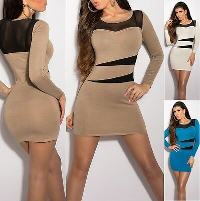 Women's Long Sleeve Mesh Knit Mini Sweater Dress - S/M (US 2-4-6)