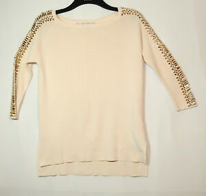 PALE-PINK-BEIGE-LADIES-FORMAL-PARTY-JUMPER-SIZE-M-ZARA-KNIT-BEADED