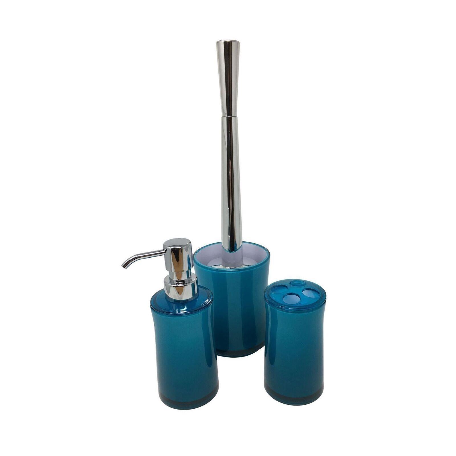 4x Plain Clear Teal bleu Bathroom Soap Distributeur Toothbrush toilettes Brush & Holders