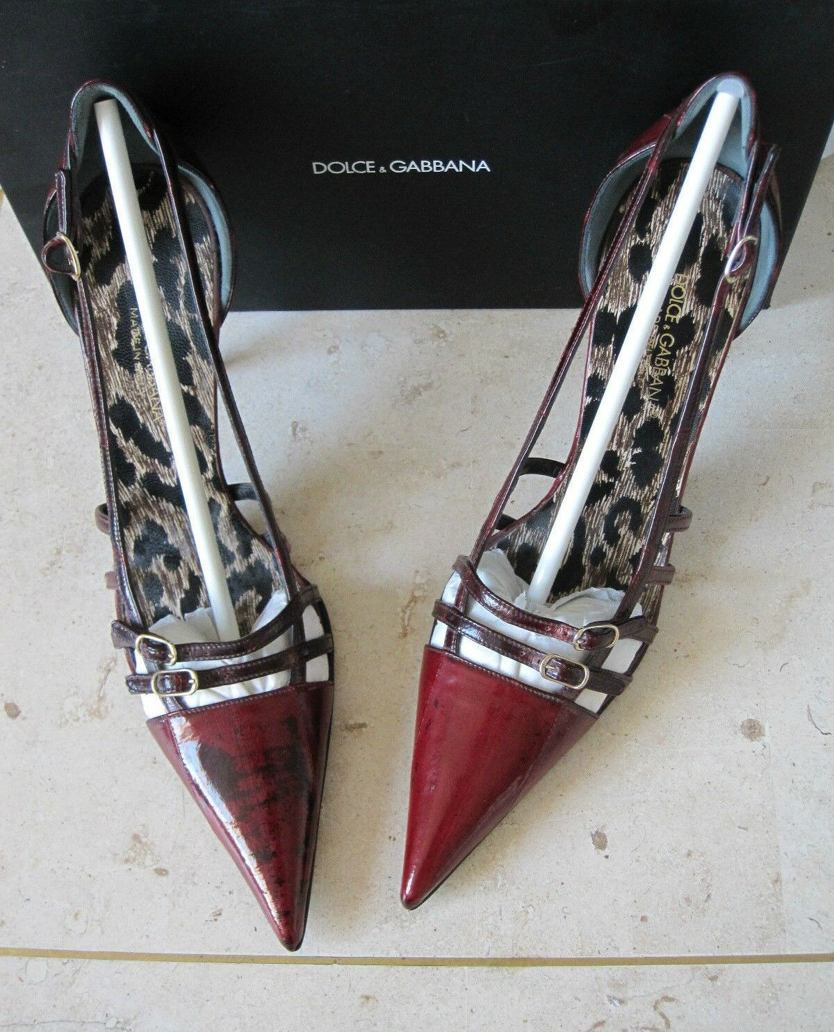Descuento de liquidación Rare! *DOLCE&GABBANA* Vtg Mary Jane EEL SKIN Pink-Red Brown Point Stiletto Heels