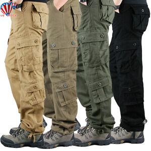 Seguridad-de-combate-para-hombre-trabajo-Multi-bolsillo-Pantalones-Ejercito-Cargo-Pantalones