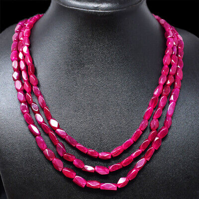 BEST 936.50 CTS EARTH MINED RICH RED RUBY 3 STRAND OVAL CARVED BEADS NECKLACE