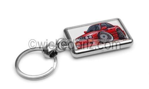 RetroArtz Cartoon Car BMW E30 325i 3 Series Coupe in Red Premium Metal Key Ring