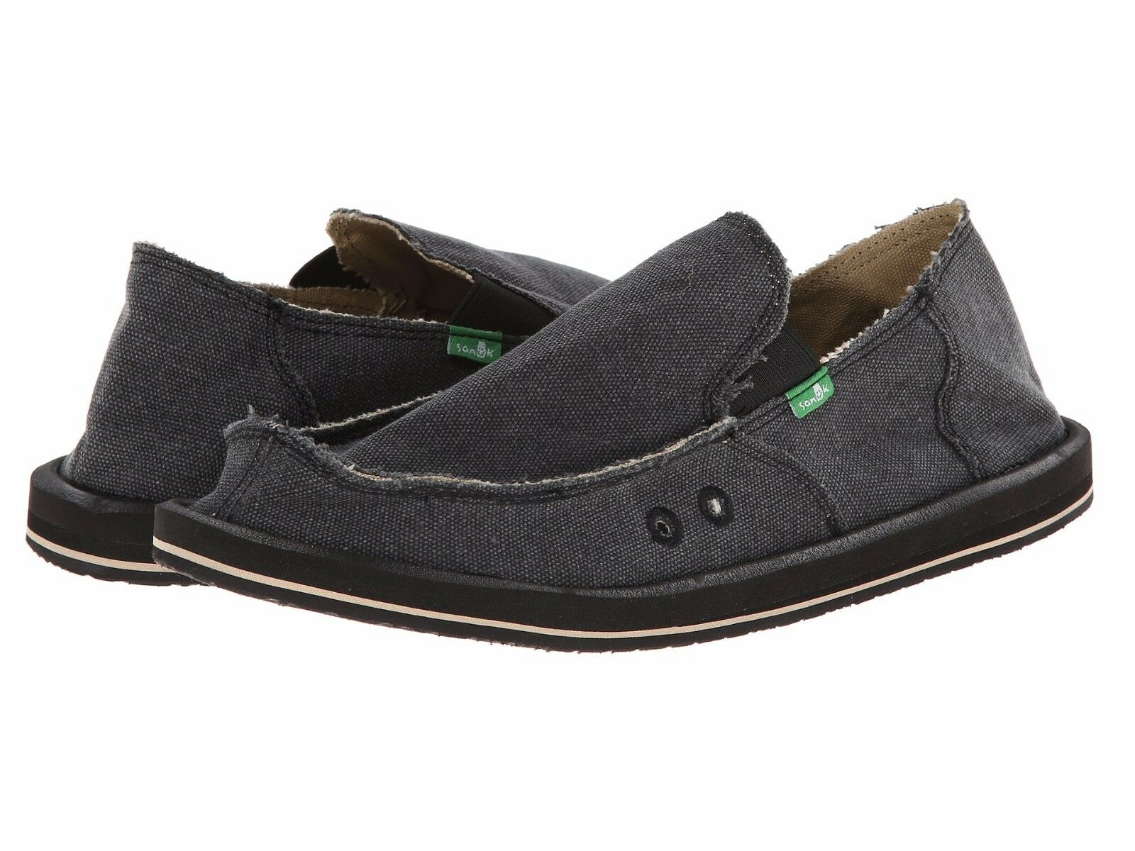 Men's Shoes Sanuk Vagabond Slip On Sidewalk Sidewalk On Surfers SMF1001 Charcoal *New* aa7da3