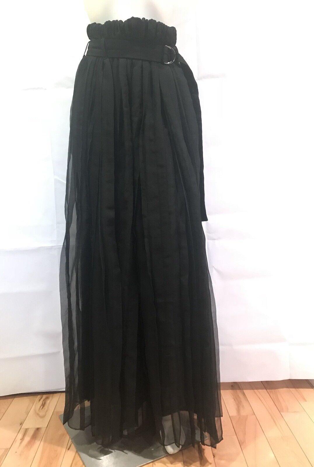 Nuevo con etiquetas BRUNELLO Cucinelli Falda Negro Largo  De Organza 100% Seda Cinturón Sz 42 US 6   2600  apresurado a ver