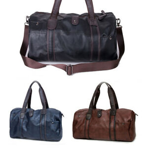 b952a103fdfb UK Mens Travel Leather Outdoor Sports Gym Bags Holdall Duffel ...
