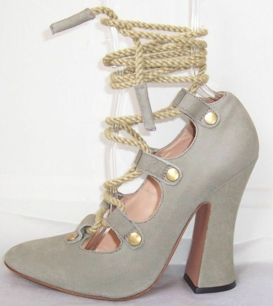 vendita calda VIVIENNE WESTWOOD grigio grigio grigio Leather Rope Ankle Wrap scarpe 37 38 or 40  Sconto del 70% a buon mercato