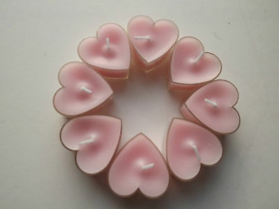 8 Rose Scented Heart Shaped Tea Light Candles Pink 3 hrs burn time/wedding