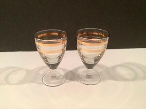 2 Vintage Low Stem Cordial Liqueur Shot Glasses 24k Gold Bands Ebay