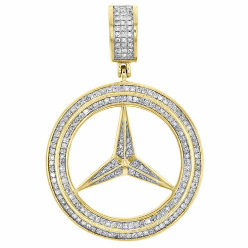 Men/'s 10K Yellow Gold Over Mercedes Medallion Diamond Pendant Pave Charm 1.46 CT