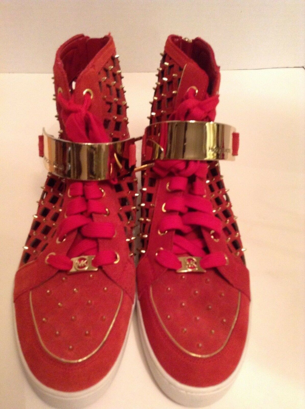 MICHAEL Kors High Top Sneakers Size 9.5 M Red Solid Flat Leather Shoe