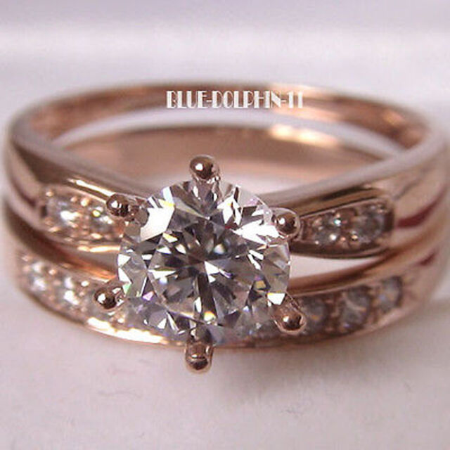 Real Genuine Solid 9ct Rose Gold Engagement Wedding Rings Set Simulated Diamonds