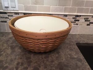 Longaberger-13-inch-Bowl-Basket-and-Lidded-Protector-USED-Hostess-Only