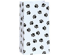 250 Paw Print pet White paper gift bags food packaging wholesale bulk 4x2x8