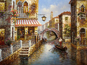 Original-Hand-Painted-Venice-Canal-Scene-Oil-Painting-on-Canvas-Art-34-034-x-26-034