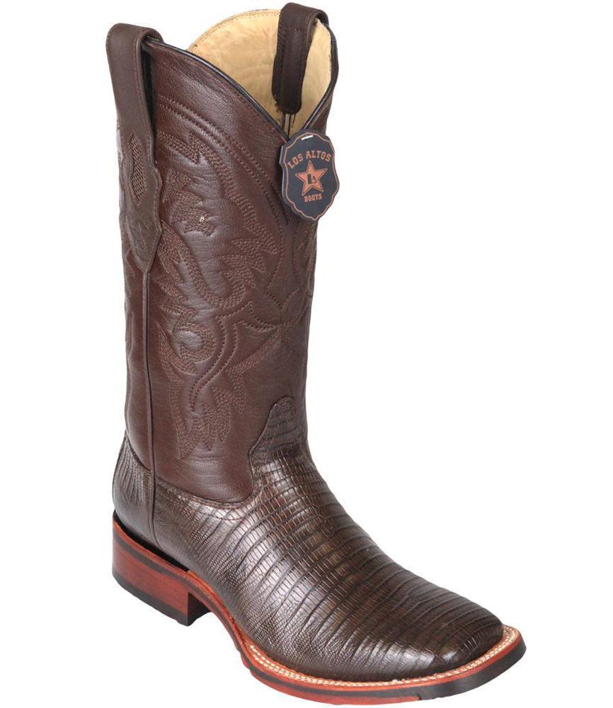 Los Altos BROWN Teju Liazrd Square Toe TPU Rubber Sole Western Cowboy Boot EE+