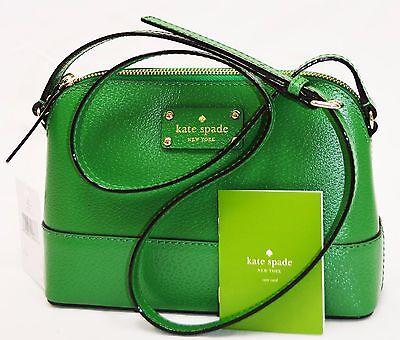 NWT Kate Spade Hanna WKRU2895 Wellesley  Genuine Leather Cross body MINI Green