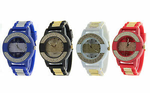 Men-039-s-Hip-Hop-Iced-Out-Techno-Pave-Fashion-Mate-Colorful-Silicone-Band-New