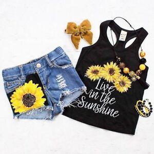 Baby-Girl-Kids-Summer-Toddler-Outfits-Clothes-T-shirt-Tops-Shorts-Pants-2PCS-Set