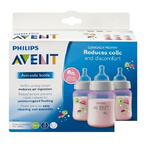 9 Oz Colors Vary Philips Avent Anti Colic Bottle BPA Free 3 Wide Neck Bottles