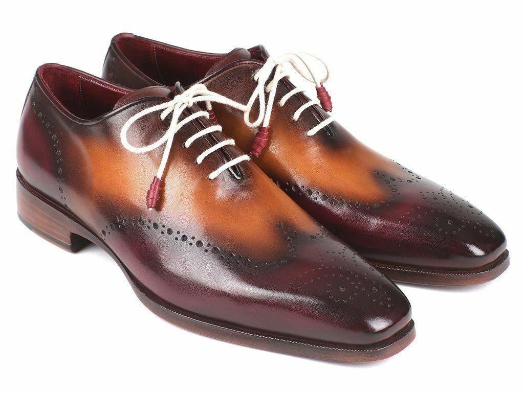 Paul Parkman Men's Dress shoes Bordeaux & Camel Wingtip Oxfords 097BY30