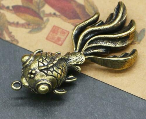 Collection old Asian Antiques china brass goldfish small pendant Key Ring Gift
