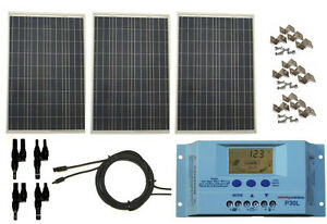 Details about 300 Watt 300W Solar Panel Kit with LCD Solar Controller 12V  RV Boat Off Grid