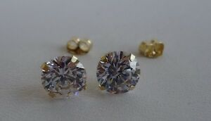 10K-SOLID-YELLOW-GOLD-STUD-EARRINGS-W-2-CT-DIAMONDS-STUNNING-LOOK