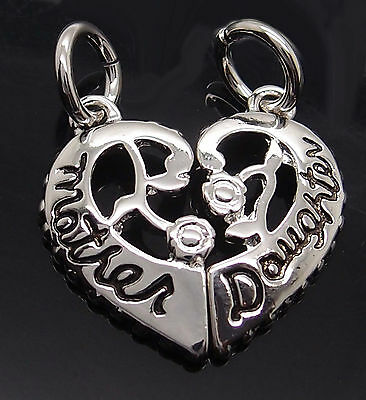 "Mother Daughter Love Heart Split Pewter Pendants with 2x 20"" Necklaces PP#262"