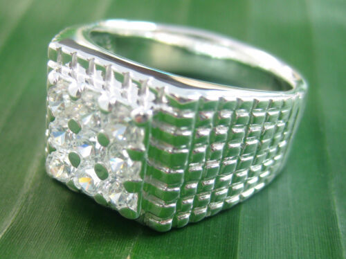 925 sterling silver 9x small round cz Square Men/'s Dress Ring size O P S V W X Z