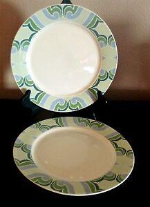 Oneida Porcelain Amber Green Dinner Plates x2 BlueGreen u0026 Lavender Scrolls & Oneida Porcelain Amber Green Dinner Plates x2 BlueGreen u0026 Lavender ...