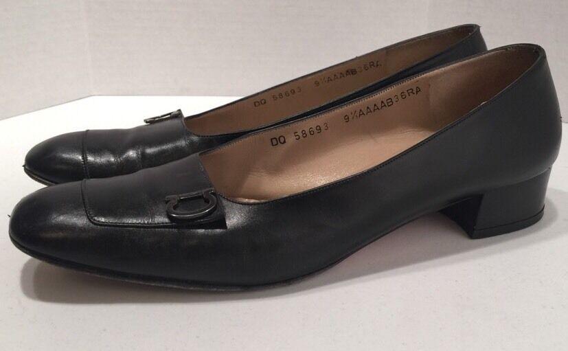 Vintage FERRAGAMO Femmes Cuir Noir Classique Escarpins T 9.5 étroit