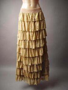 Antique-Beige-Tiered-Lace-Ruffle-Victorian-Style-Long-Maxi-195-mv-Skirt-S-M-L