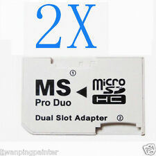 2X Dual Pro Memory Stick Pro Duo 32GB ( 2 x 16GB Micro SD) Adapter for PSP