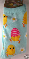 K.bell Aqua Mint Green Yellow Chicks And Eggs Daisies Womans Crew Socks