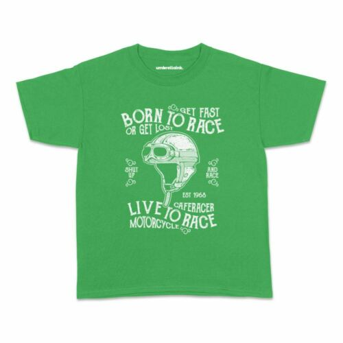 Born To Race Kids Tshirt Vintage Car Motorcycle Engine Teens Youth