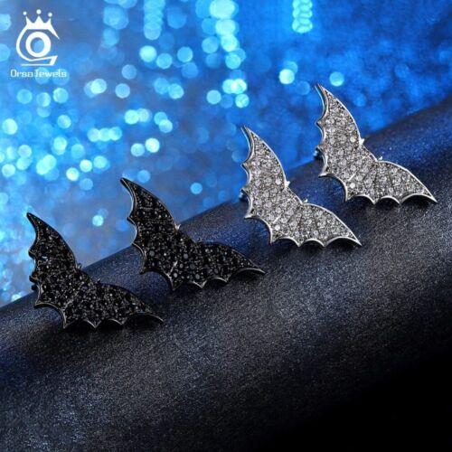 Orsajewels ® Clous D/'Oreilles Pour Femmes Flying Bat Patter Noir Clair éblouissante