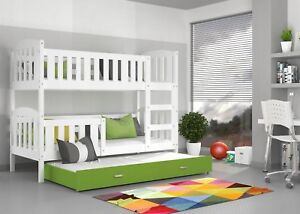 Letti A Castello Tripli.Solid Bunk Bed For Childrens Kids With Triple Sleeper Mattresses