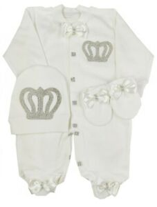Personalized  Royal Baby Boy White Romper set with Grey Bows