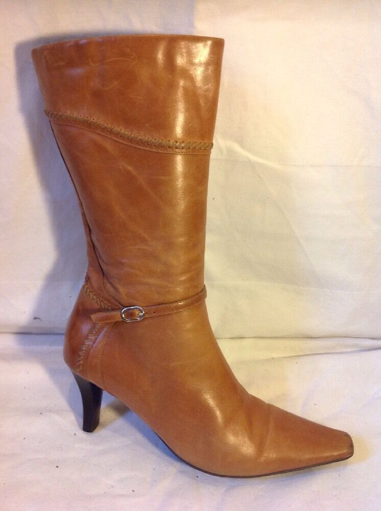 Amber Brown Mid Calf Leather Boots Size 39