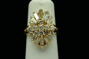 1-50-CT-TW-Stunning-14K-Yellow-Gold-Over-Diamond-Cluster-Cocktail-Ring-Size-7